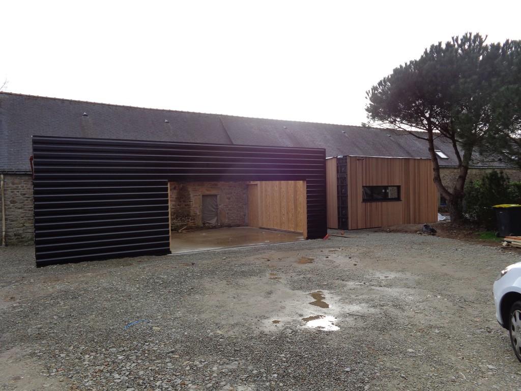 Extension ossature bois plescop maison serru bois for Extension garage ossature bois