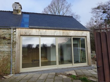 Extension bardage bois naturel